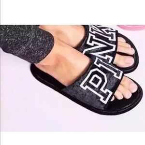 Victoria's Secret PINK Black Velvet Soft Slippers
